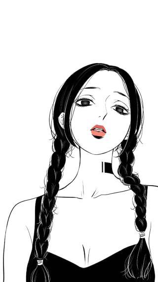 卡通 辫子 女孩 黑白