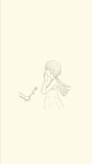 女孩 情侣壁纸 简笔画 一左一右