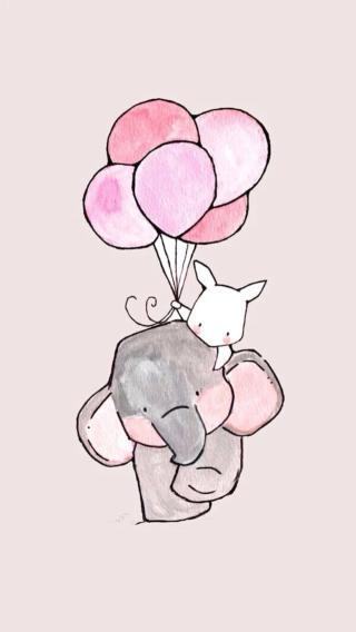 兔子 粉色 气球 小象