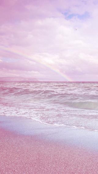 海边 粉色 沙滩 海浪