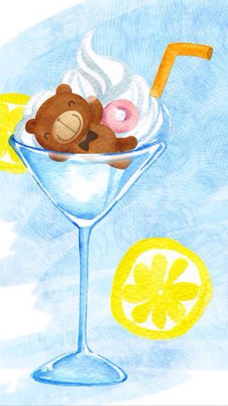卡通 熊 柠檬 手绘