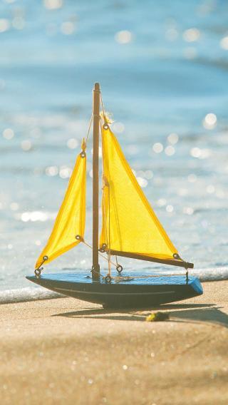 帆船 沙滩 海滩 阳光