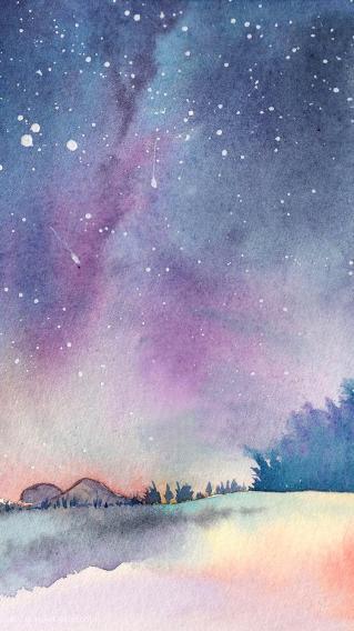 手绘夜空 星空 唯美