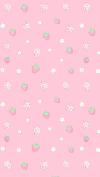 草莓 牛奶 平铺 聊天背景 粉