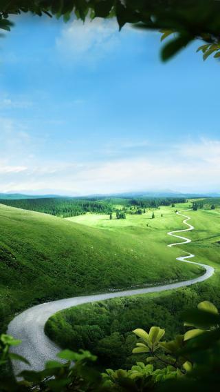蜿蜒小路 蓝天 草原 绿