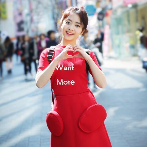 可爱谭松韵 丸子头 红裙