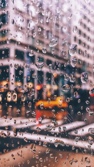 雨滴 玻璃 城市 雨