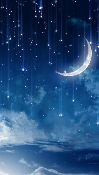 星星 月亮 夜空 蓝色