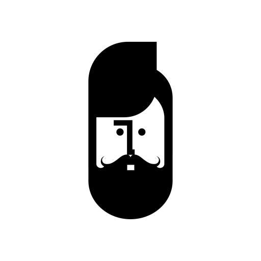 卡通 人物 大胡子 黑白