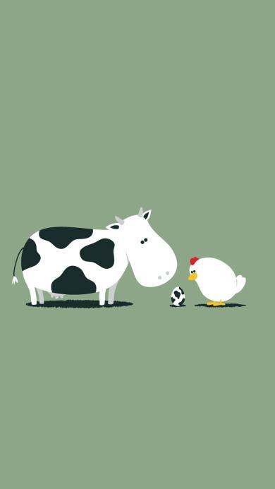 卡通 漫画 抽象 牛 鸡蛋