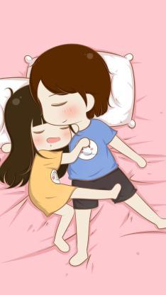 情侣 拥抱 卡通