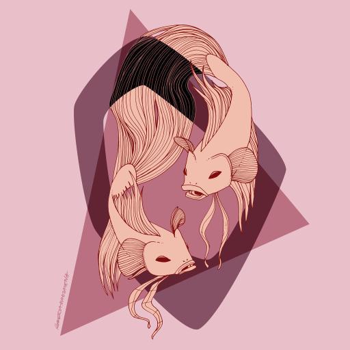 手绘插画 粉色 鱼 三角形
