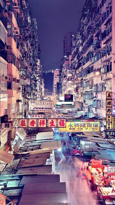 香港 街景 美食街