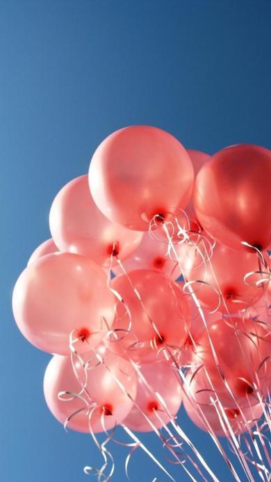 气球 粉色 蓝天