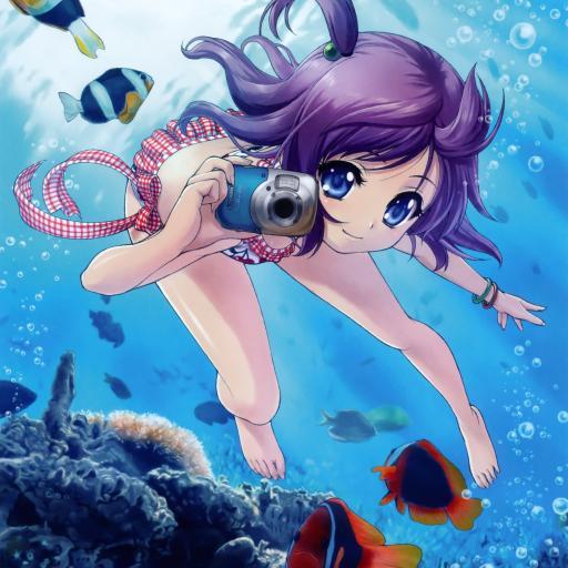 潜水的动漫少女 拍照