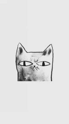 手绘 黑白猫 简笔