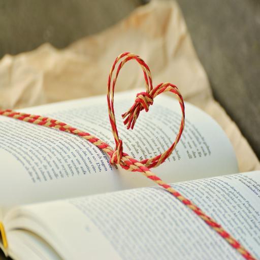 书上的心形红绳