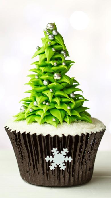 圣诞 圣诞树 雪花 甜品 纸杯蛋糕 奶油