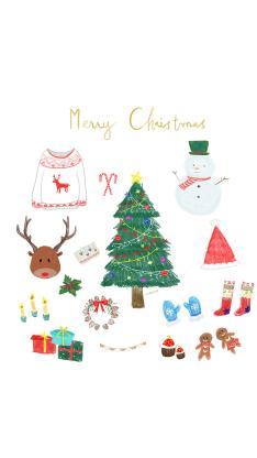 merry christmas 圣诞 雪人 圣诞树 鹿