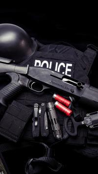 警察 子弹 枪 黑色