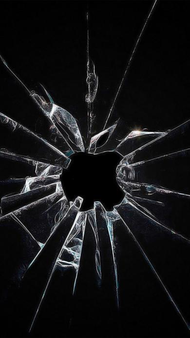 碎 玻璃 苹果logo