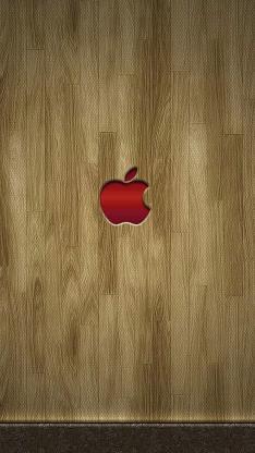 苹果logo 木纹 红色