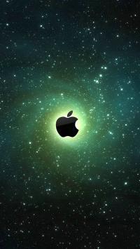 苹果logo 宇宙 绿色