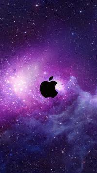 苹果 logo 紫色 宇宙