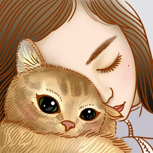 女生 猫咪 手绘