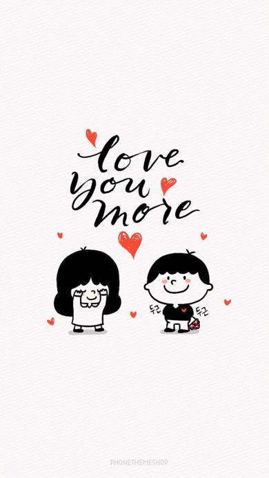 可爱 卡通 情侣 手绘 love you more