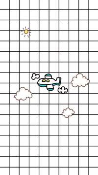 格子背景 简笔画小飞机