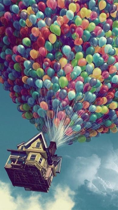 飞屋环游记 彩色气球 房屋
