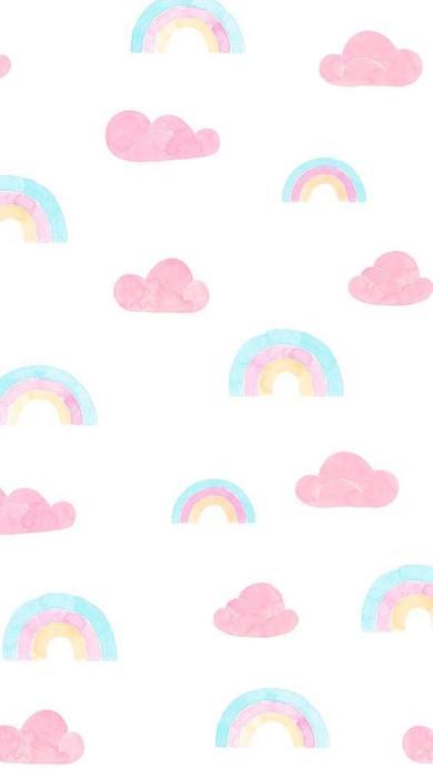 手绘 彩虹 云朵 少女 色彩 平铺