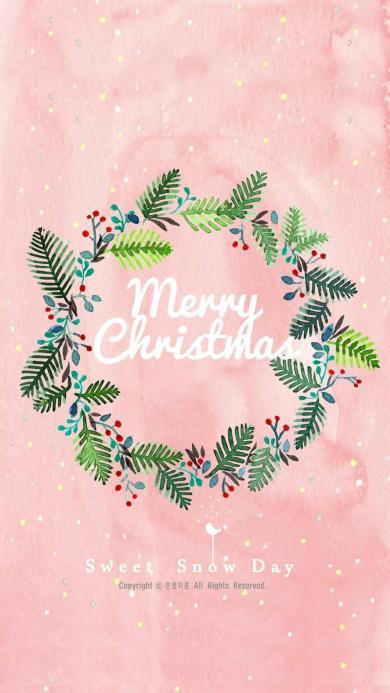 圣诞 merry christmas 花环 绿叶 粉色 水彩 手绘