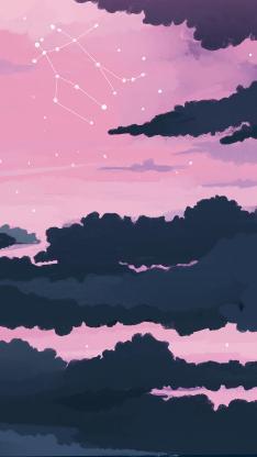 手绘 天空 星空 星座 粉色 黑色 云层 繁星