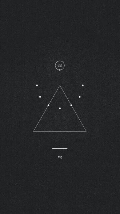 简笔画 三角形 圆形 黑色背景壁纸
