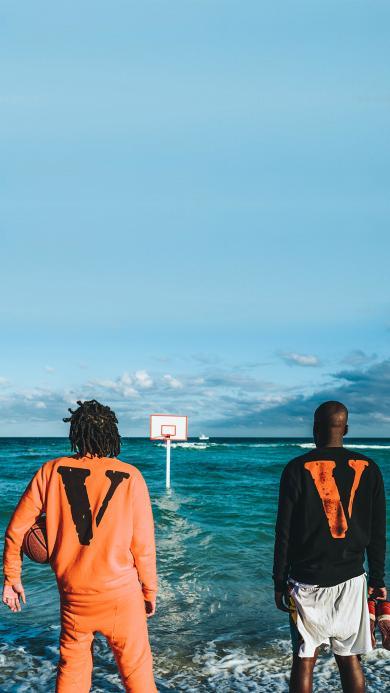 篮球 运动 背影 篮板 大海 海水 蓝天