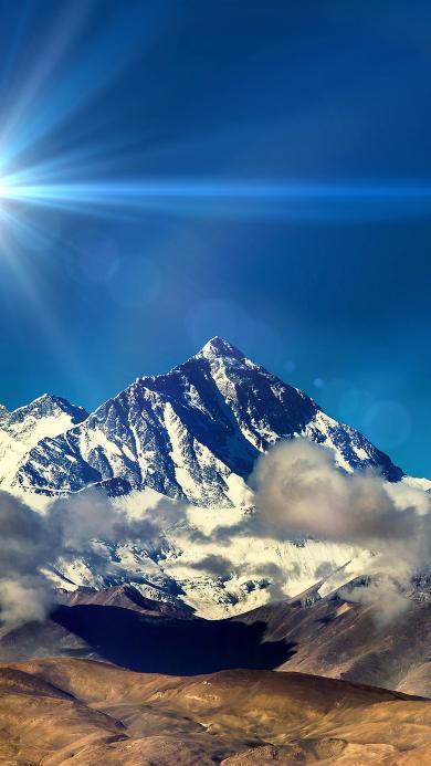 雪山 云 蓝天 阳光 光线
