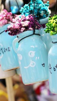 花盆 花瓶 盆栽 紫色 绿色 黄色 小花 花艺 花园