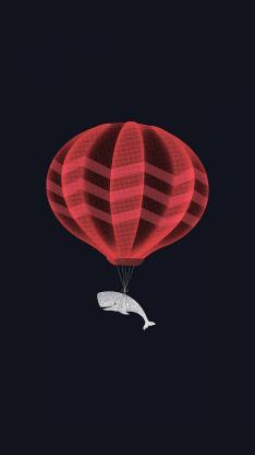 黑色 纯色 鲸鱼 热气球 创意