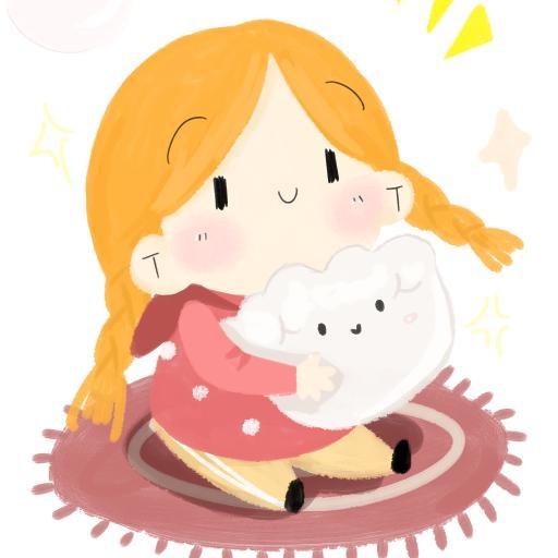 手绘 可爱 辫子 女孩 饺子 插画