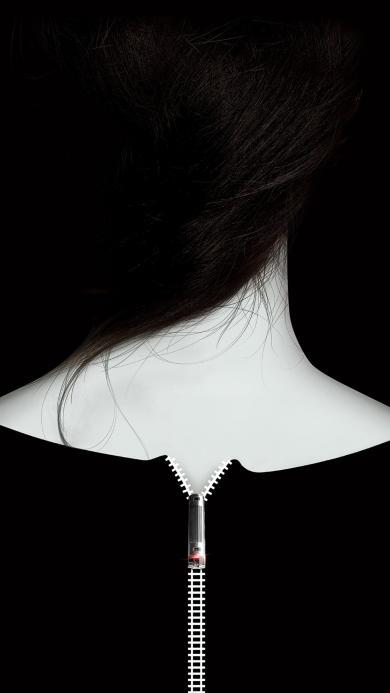女生 背影 拉链 唯美 头发