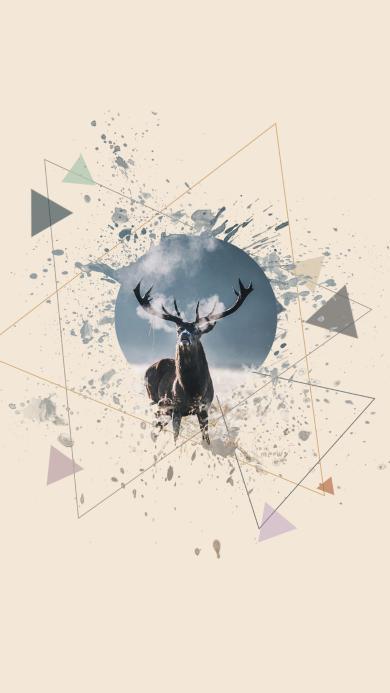 动物 麋鹿 简约 三角