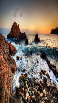 海边 礁石 海浪