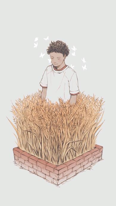 情侣壁纸 稻草中的男孩