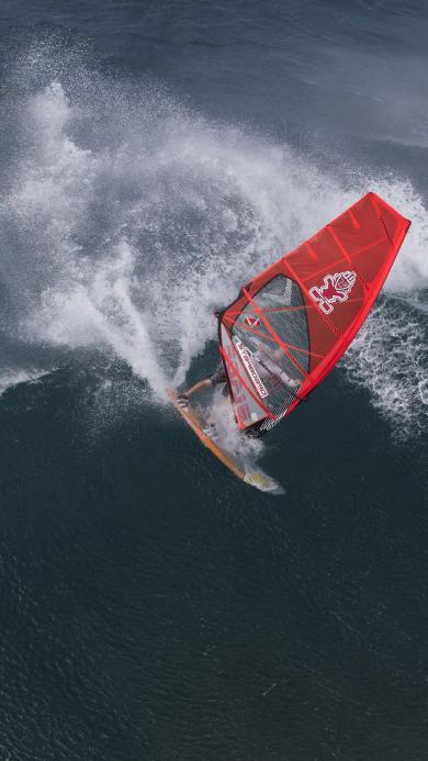 帆船 海 海浪 海水 红色 运动 体育