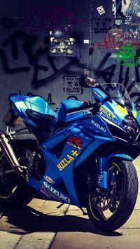 蓝色 摩托车 Suzuki 铃木 赛车