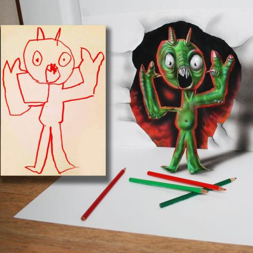 3D搞笑艺术 手绘临摹