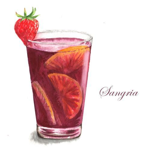 手绘 饮料 柠檬水 草莓 被子