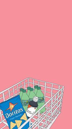 手绘 粉色 购物车 零食 薯片 汽水